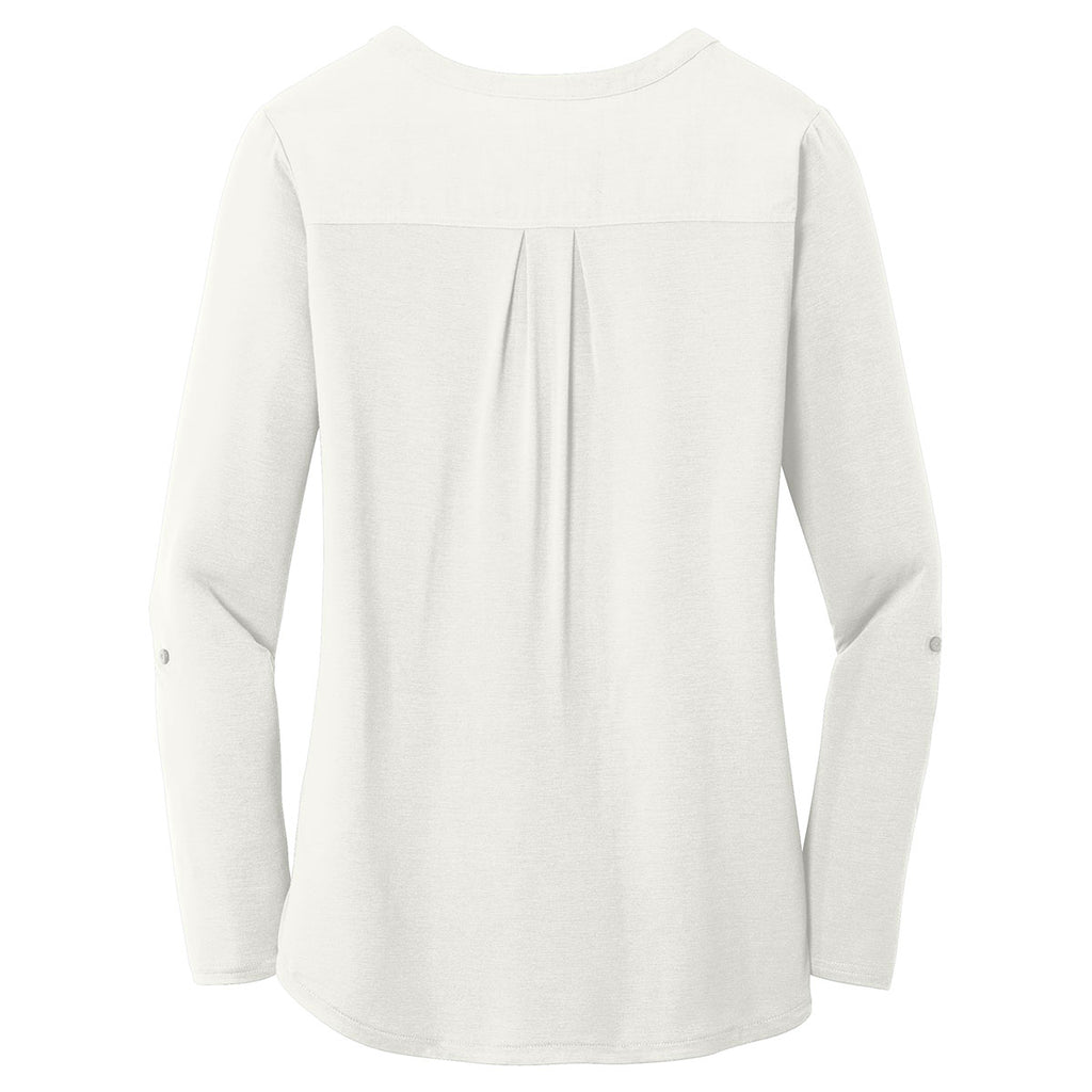 Port Authority Women's Ivory Chiffon Concept Henley Tunic