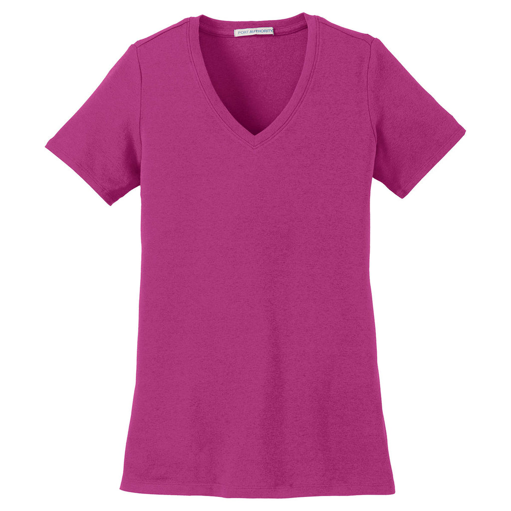 c98ac355ee30 Port Authority Women's Magenta Concept Stretch V-Neck Tee. ADD YOUR LOGO