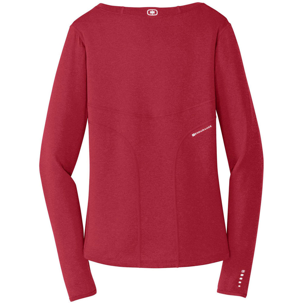 OGIO Endurance Women's Ripped Red Long Sleeve Pulse Crew