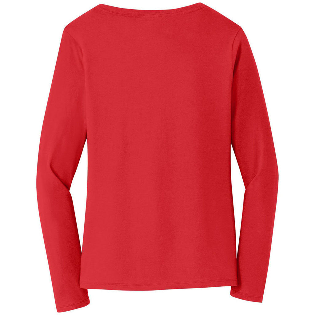 Port & Company Women's Bright Red Long Sleeve Fan Favorite V-Neck Tee