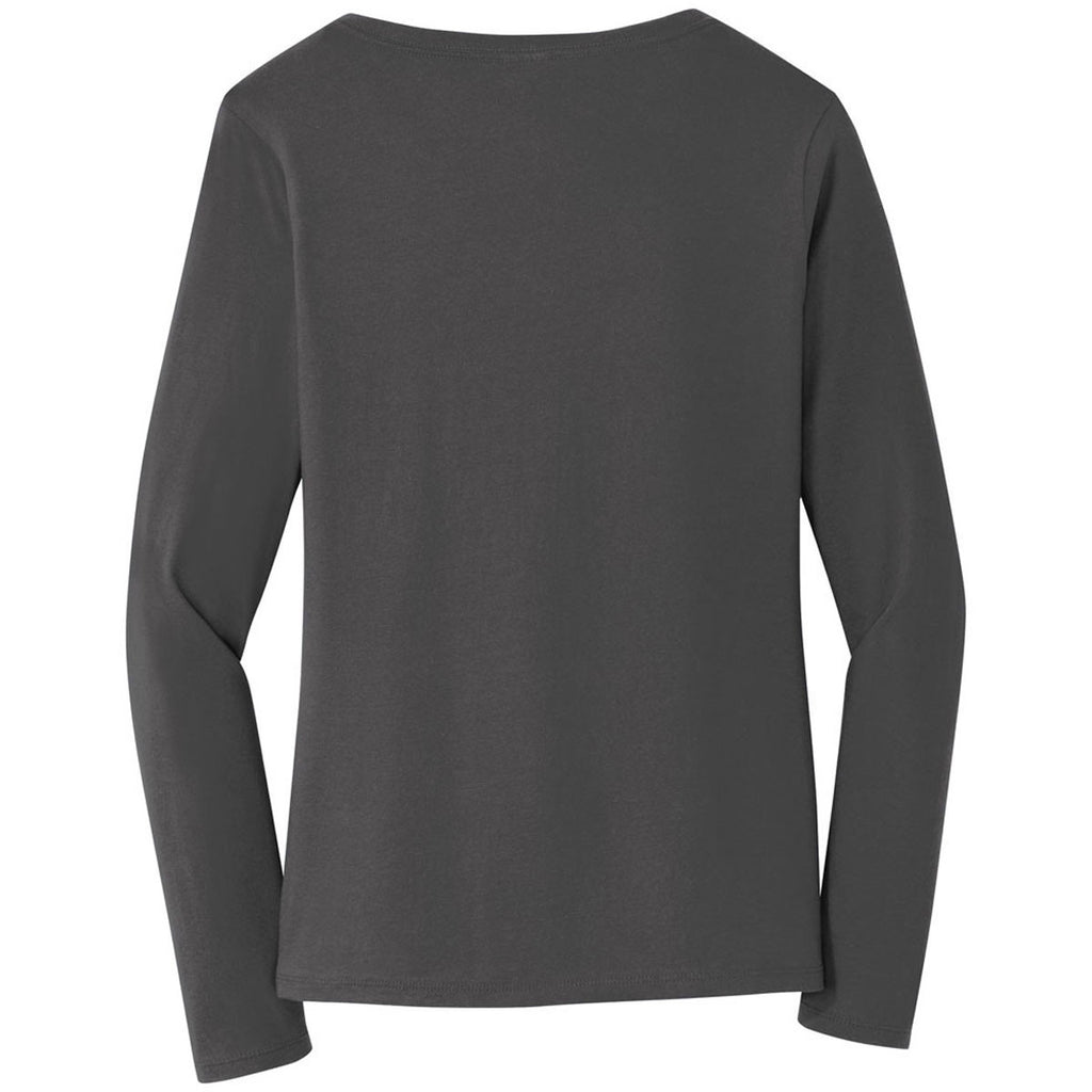 Port & Company Women's Charcoal Long Sleeve Fan Favorite V-Neck Tee