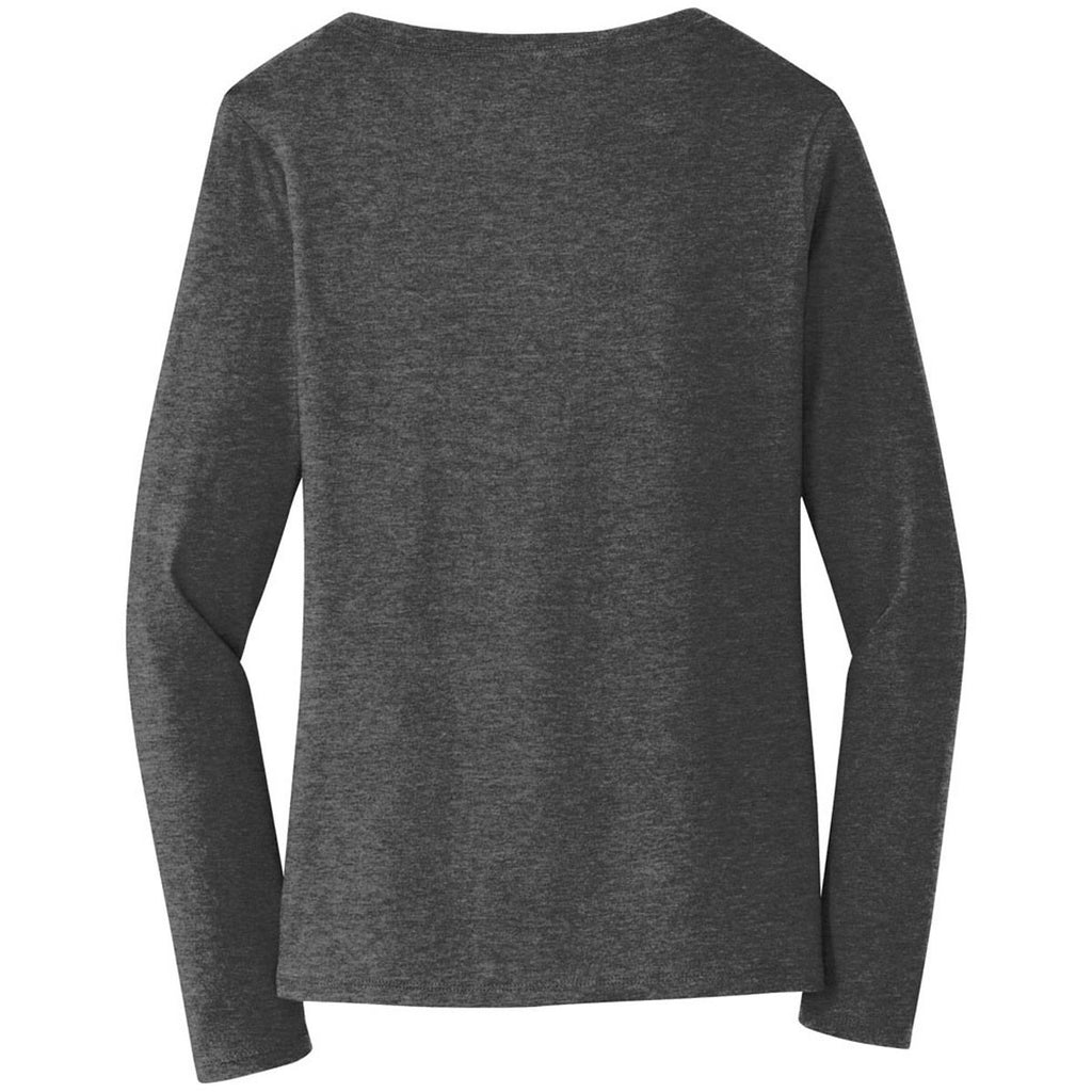 0c82a2694fe Port   Company Women's Dark Heather Grey Long Sleeve Fan Favorite V-Neck Tee