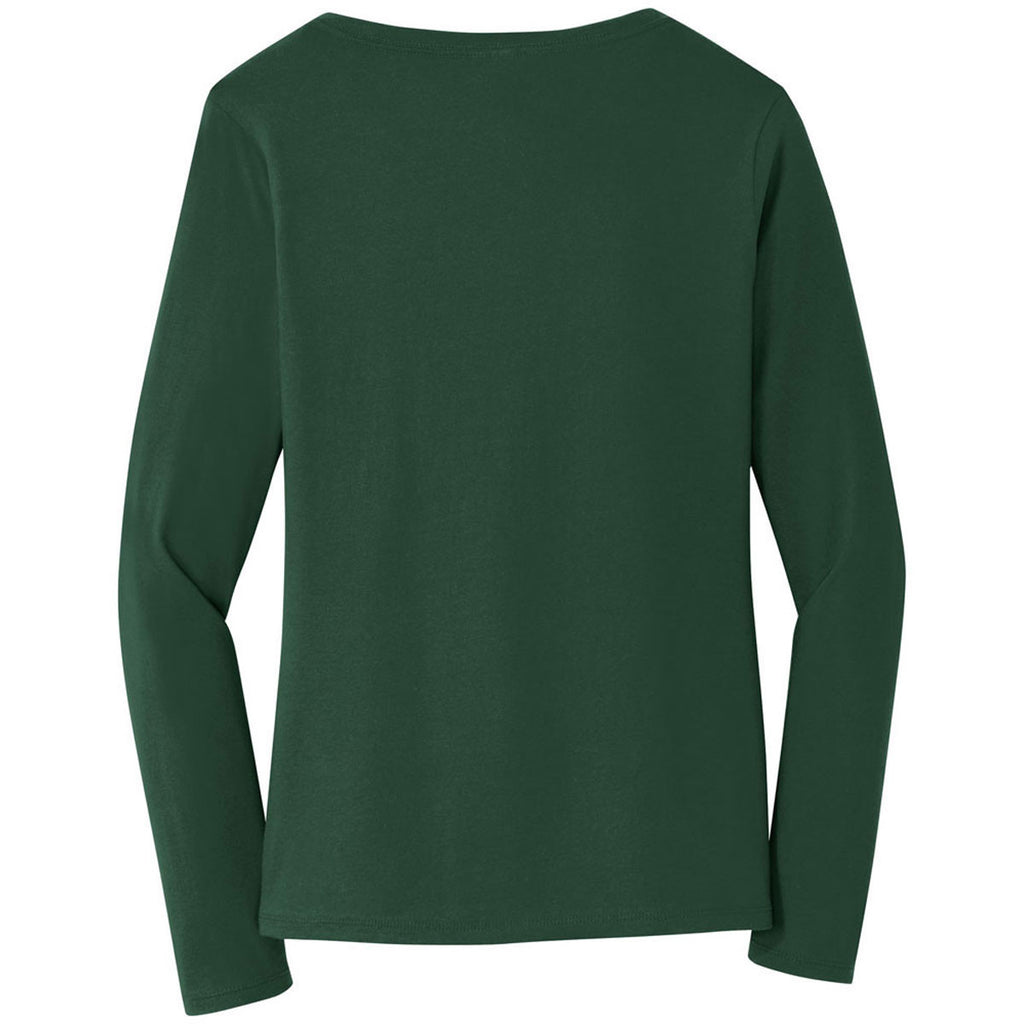 Port & Company Women's Forest Green Long Sleeve Fan Favorite V-Neck Tee