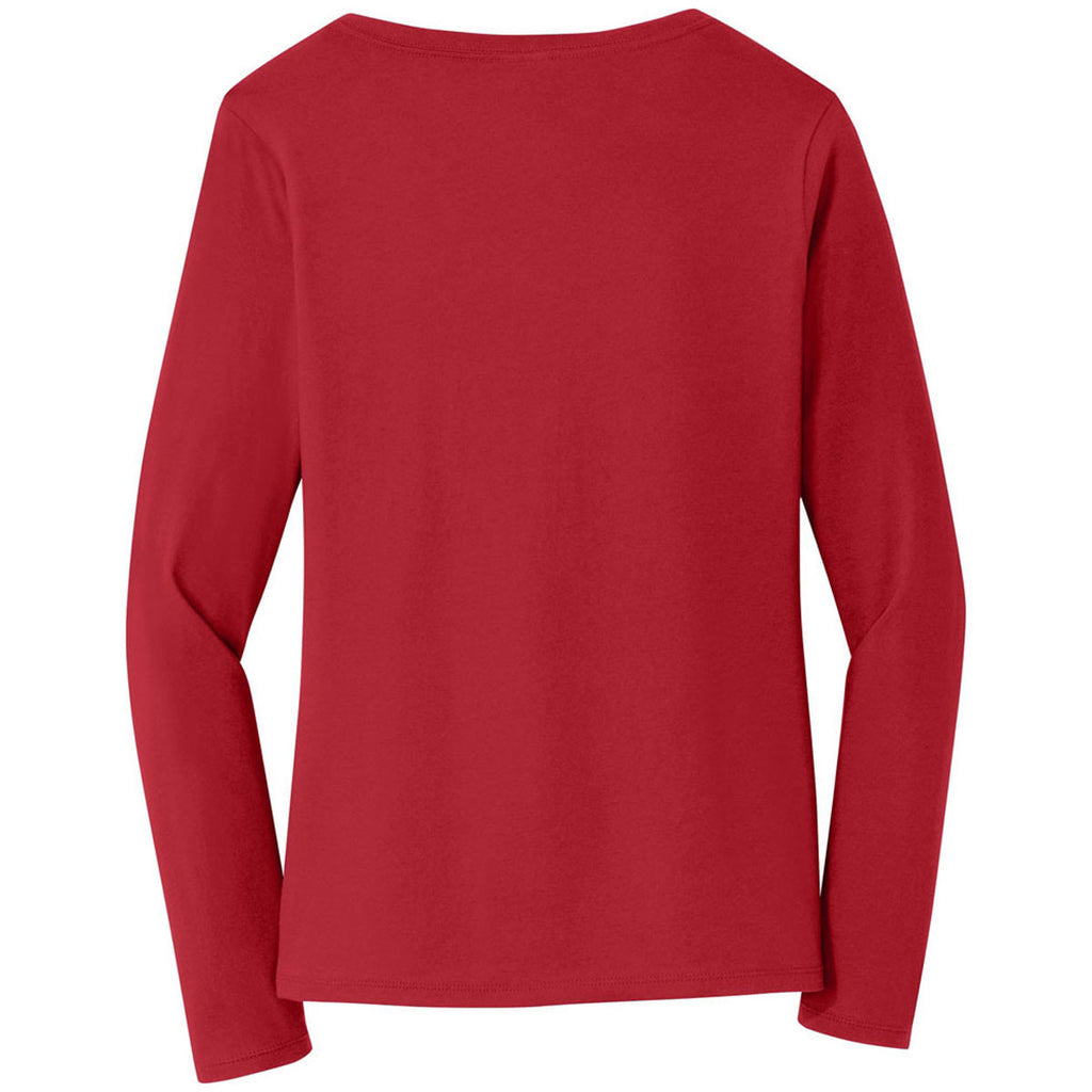 Port & Company Women's Team Cardinal Long Sleeve Fan Favorite V-Neck Tee