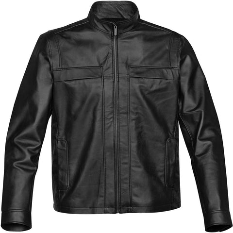 045f8617e Bugatchi Men's Black Wool Bomber with Leather Sleeves Jacket