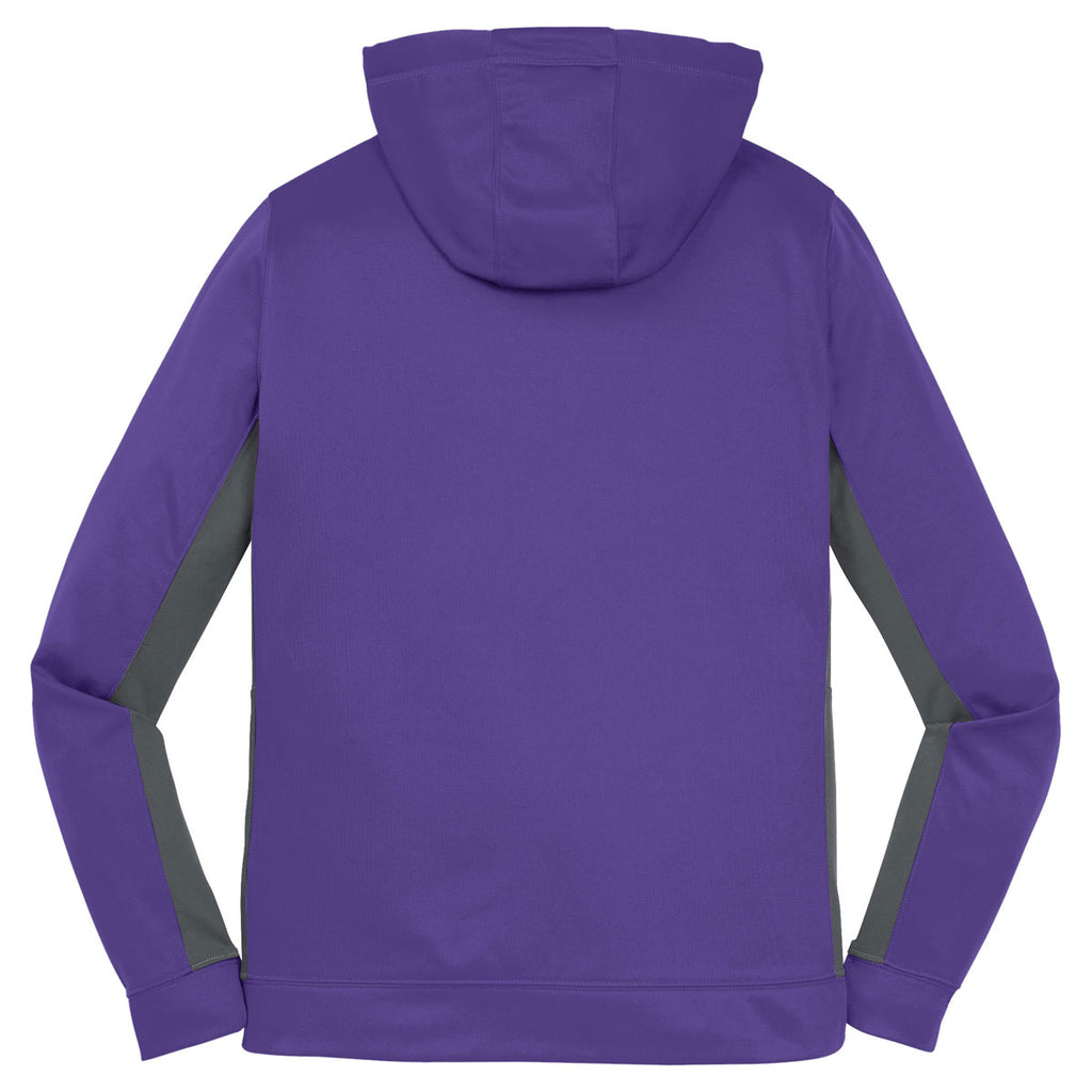 Sport-Tek Women's Purple/Dark Smoke Grey Sport-Wick Fleece Colorblock Hooded Pullover