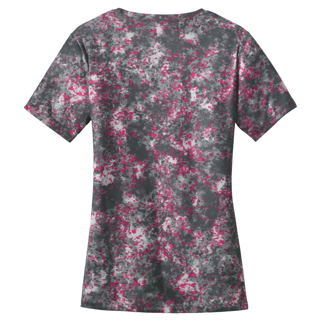 Sport-Tek Women's Pink Raspberry Mineral Freeze Scoop Neck Tee