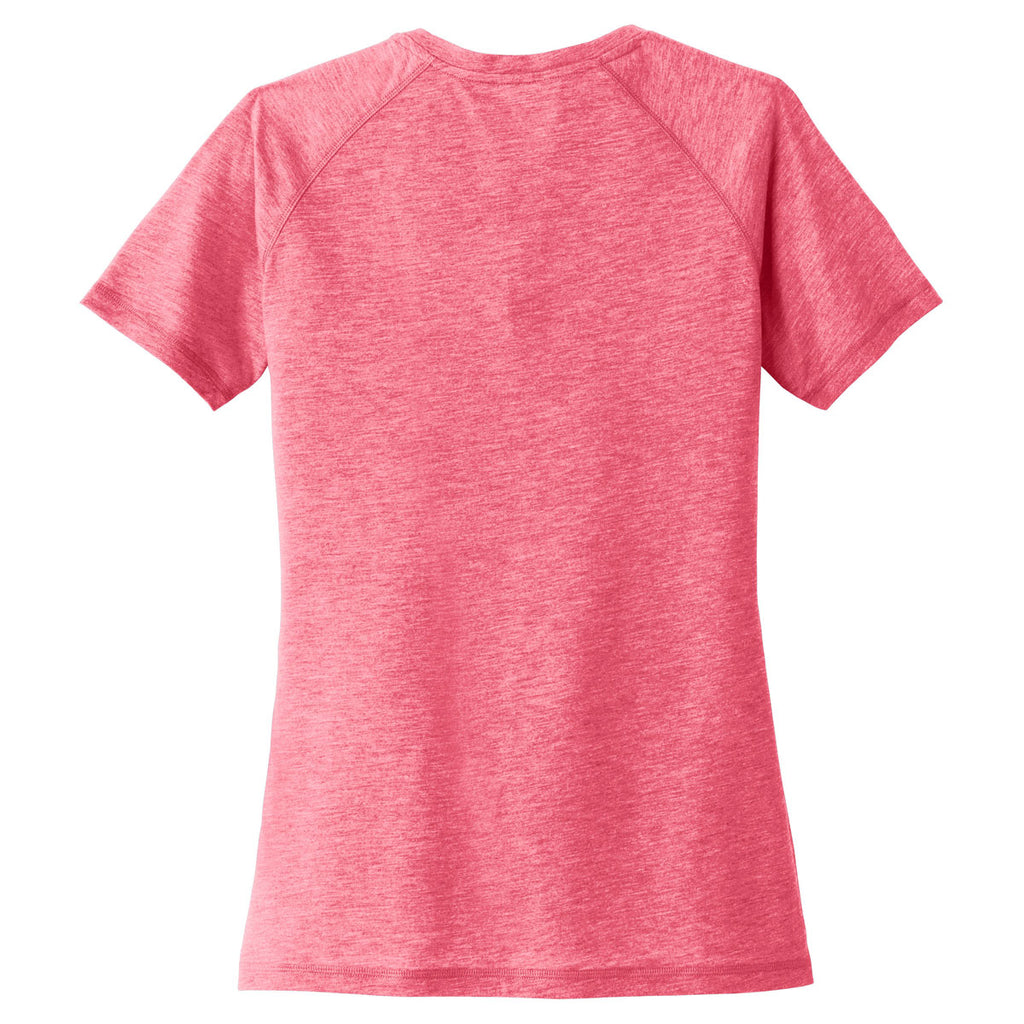 Sport-Tek Women's Pink Raspberry Heather PosiCharge Tri-Blend Scoop Neck Tee