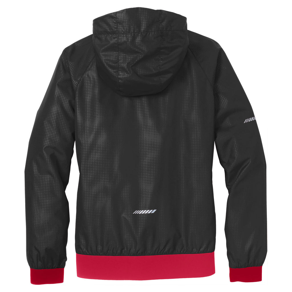 Sport-Tek Women's Black/True Red Embossed Hooded Wind Jacket