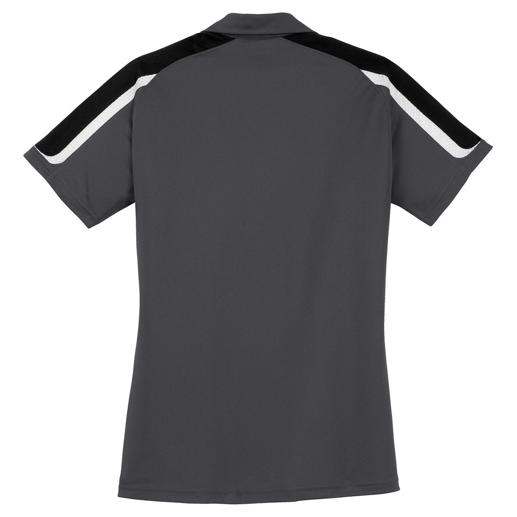 Sport-Tek Women's Iron Grey/Black/White Tricolor Shoulder Micropique Sport-Wick Polo