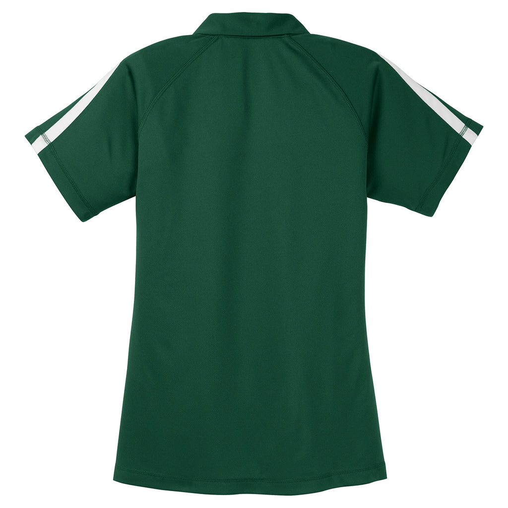 Sport-Tek Women's Forest Green/White PosiCharge Micro-Mesh Colorblock Polo