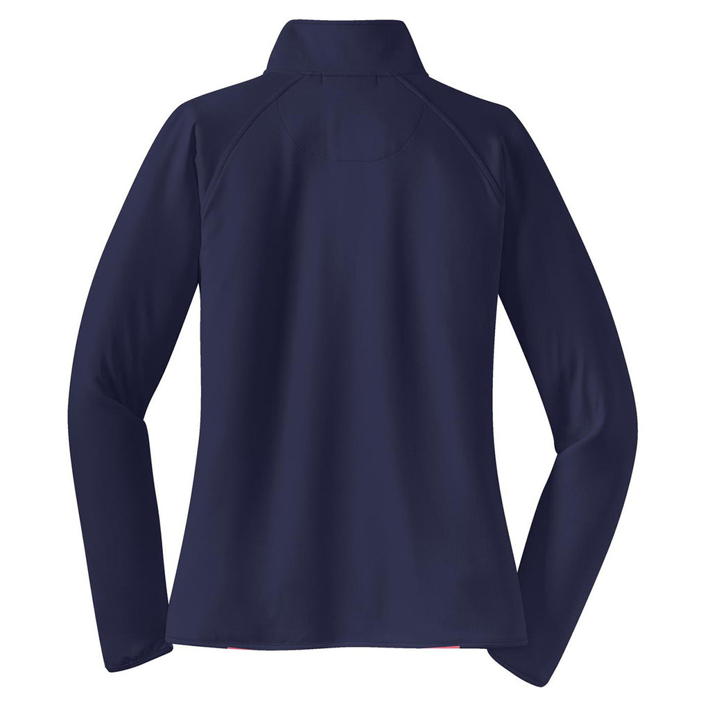 Sport-Tek Women's True Navy Sport-Wick Stretch 1/2-Zip Pullover