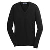 port-authority-women-black-v-neck-sweater