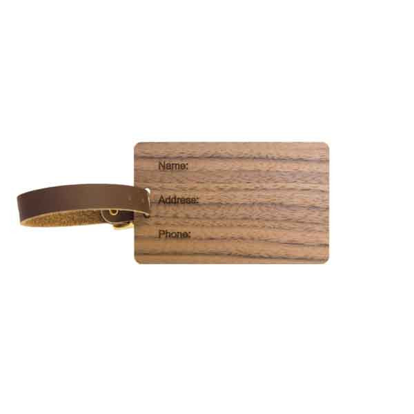 Woodchuck USA Walnut Wood Luggage Tag