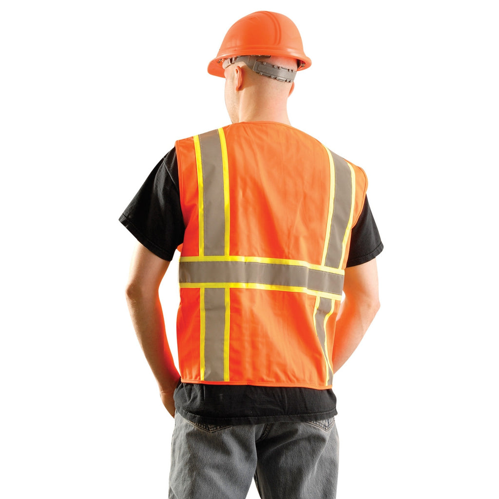 OccuNomix Men's Orange High Visibility Classic Solid Two-Tone Surveyor Safety Vest
