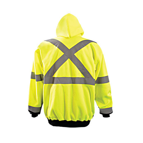 OccuNomix Men's Yellow Black Bottom X Back Hoodie with Zipper