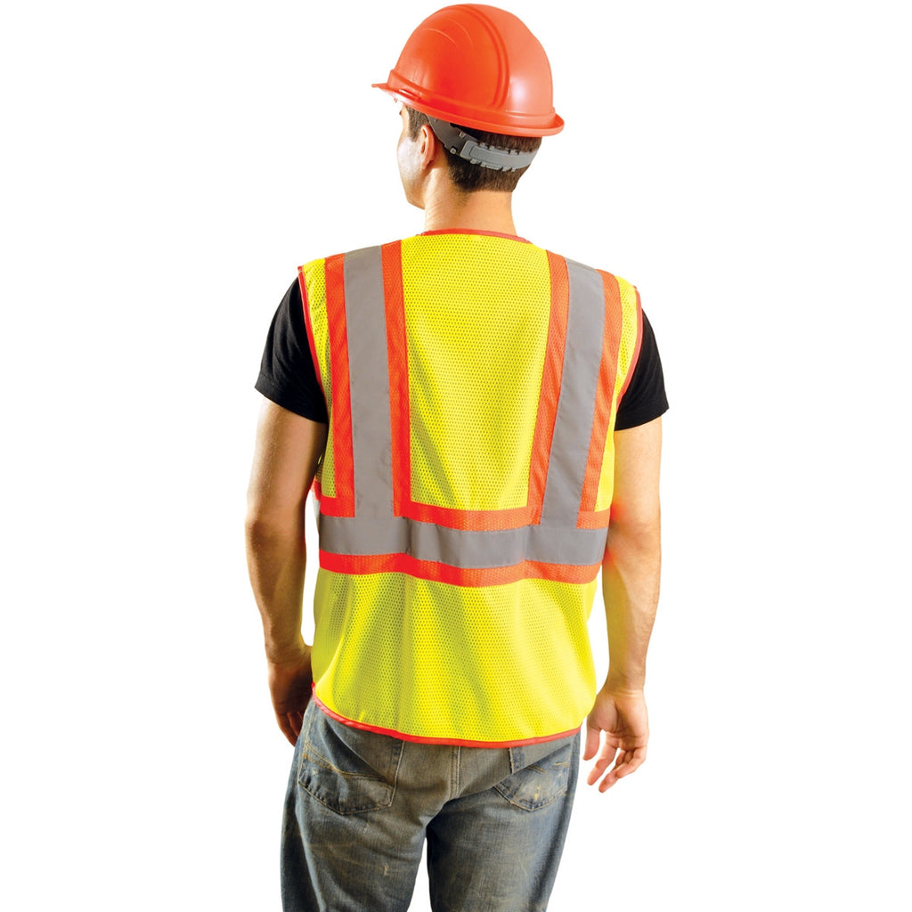 OccuNomix Men's Yellow High Visibility Classic Mesh Two-Tone Safety Vest