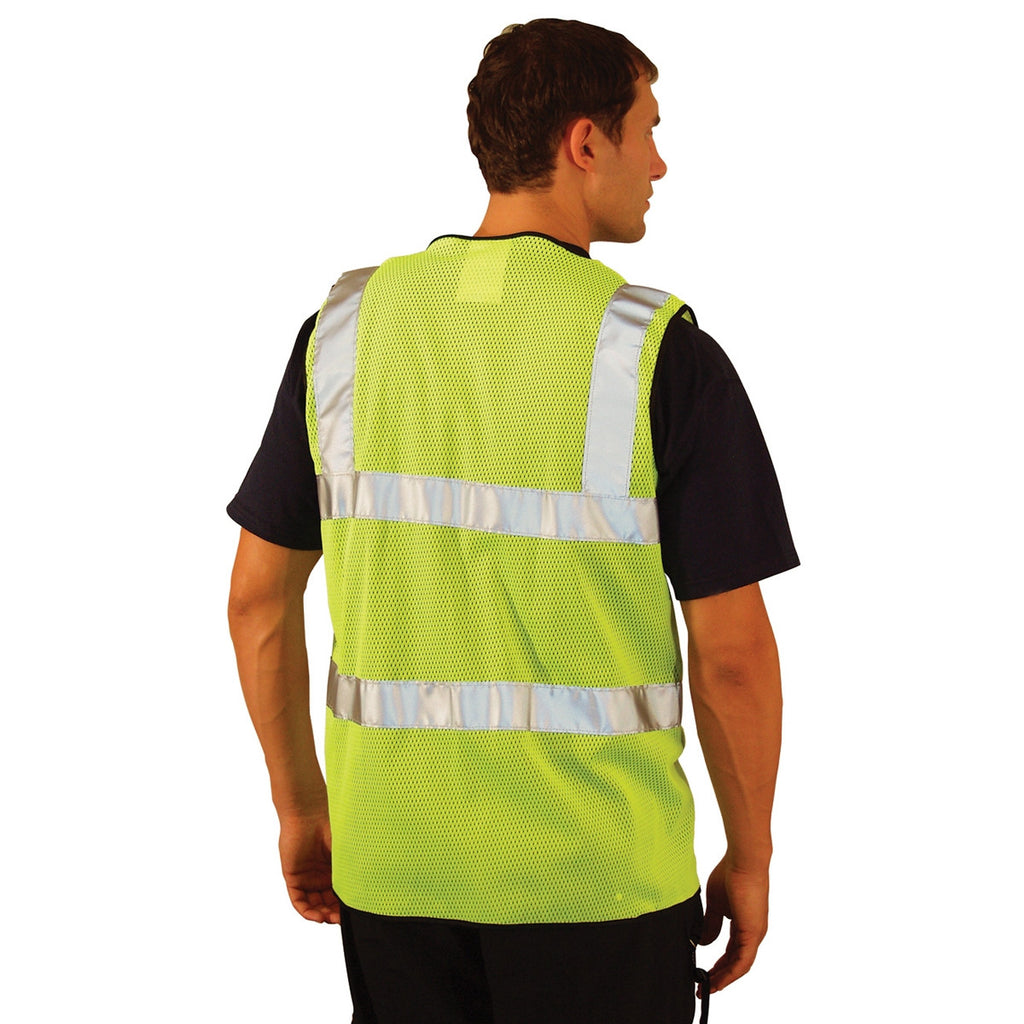 OccuNomix Men's Yellow High Visibility Premium Mesh Dual Stripe Safety Vest