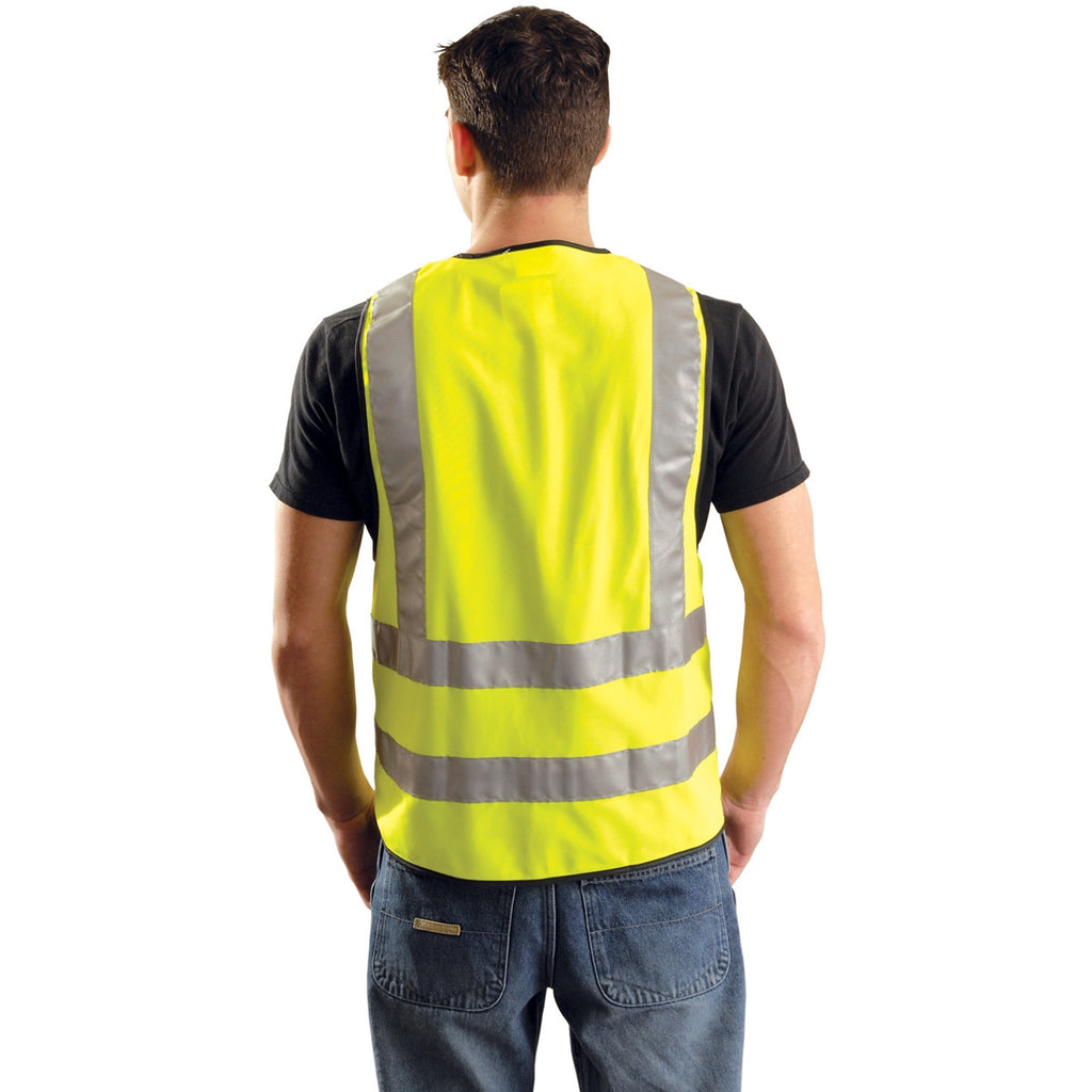 OccuNomix Yellow High Visibility Premium Solid Dual Stripe Surveyor Vests