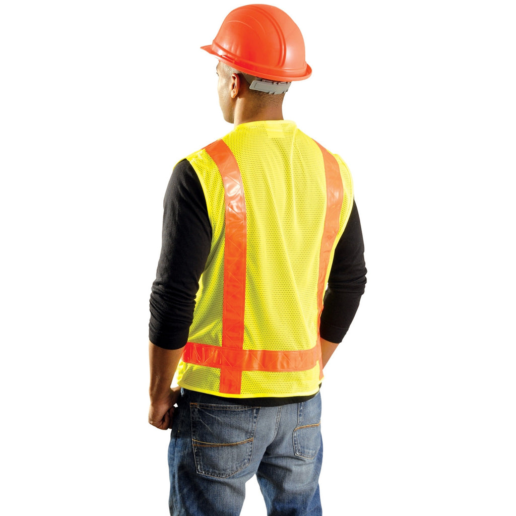 OccuNomix Men's Yellow High Visibility Premium Solid/Mesh Gloss Safety Vest