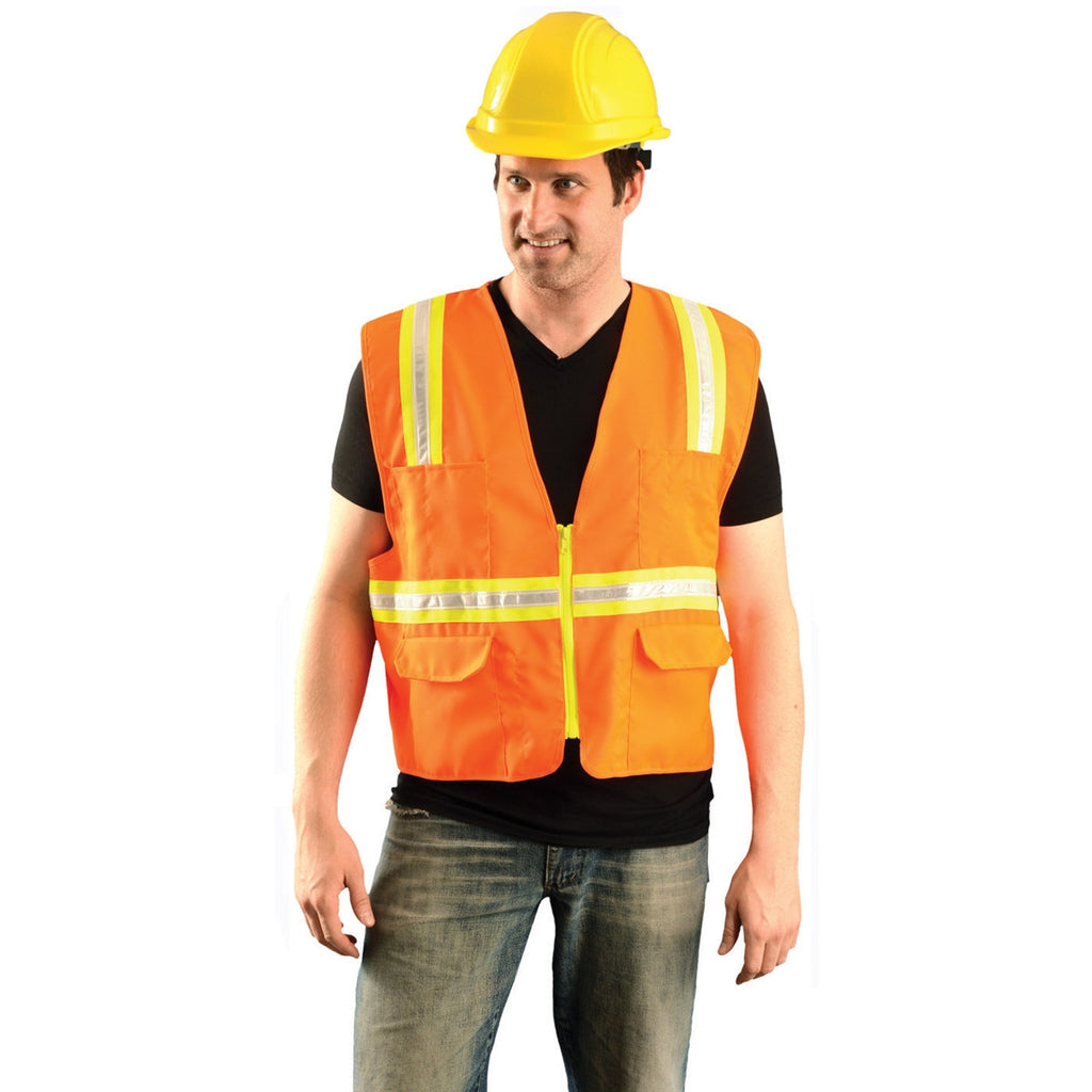 OccuNomix Men's Orange Classic Mesh Two-Tone Surveyor Vest