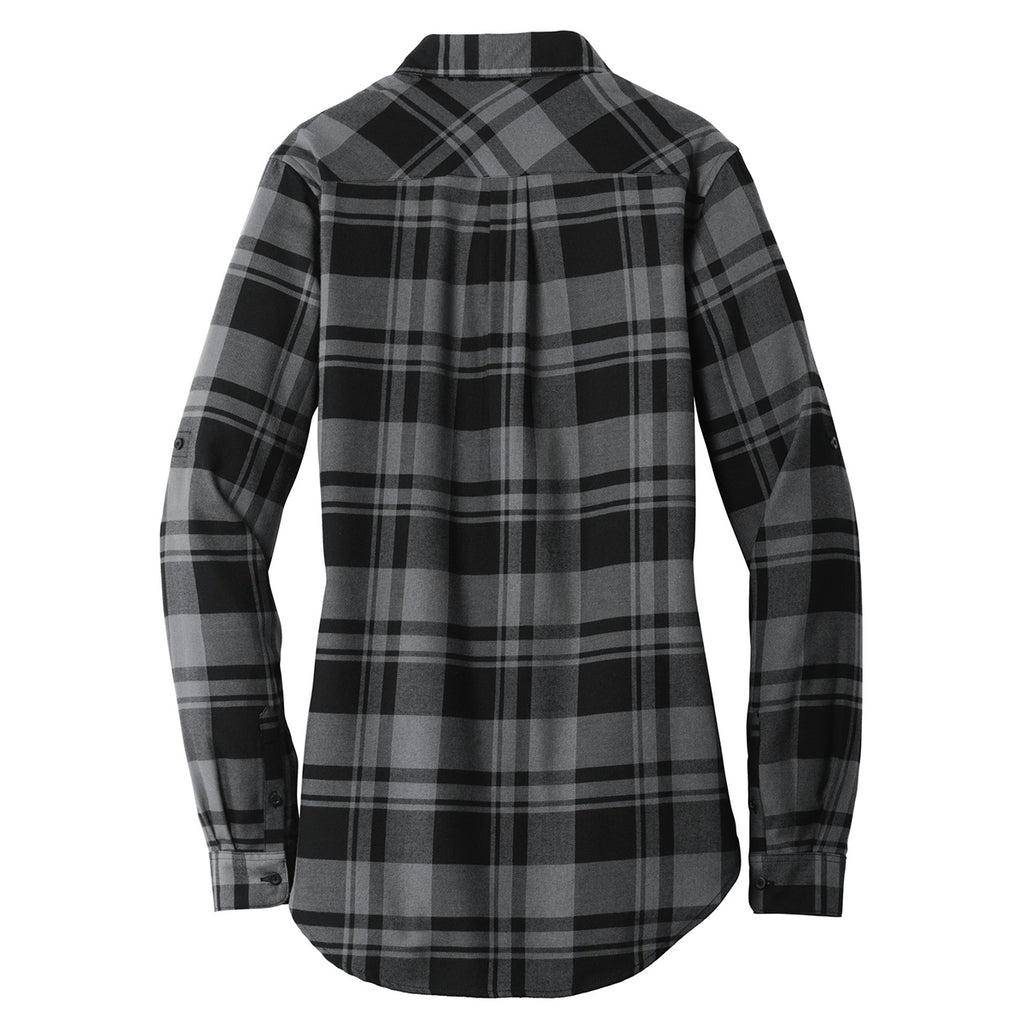Port Authority Women's Grey/Black Plaid Flannel Tunic