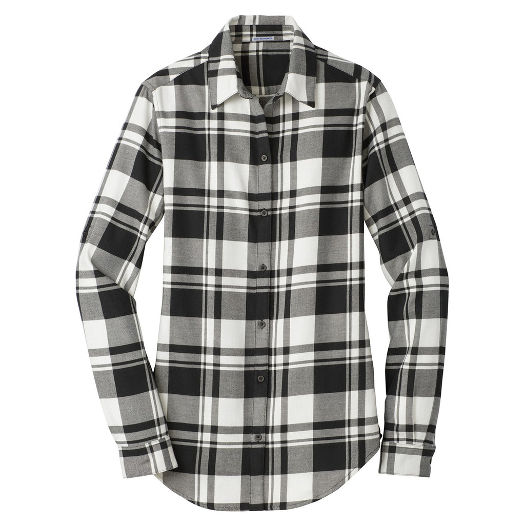 Port authority women 39 s snow white black plaid flannel tunic for White and black flannel shirt womens