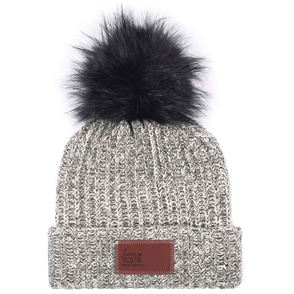 12e1e1369aac0 Love Your Melon Black Speckled Beanie with Black Pom