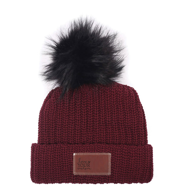 Love Your Melon Burgundy Beanie With Black Pom