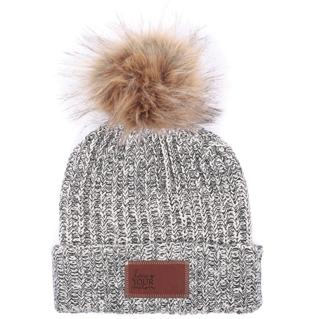 397f920fd7431 Love Your Melon Black Speckled Beanie with Natural Pom