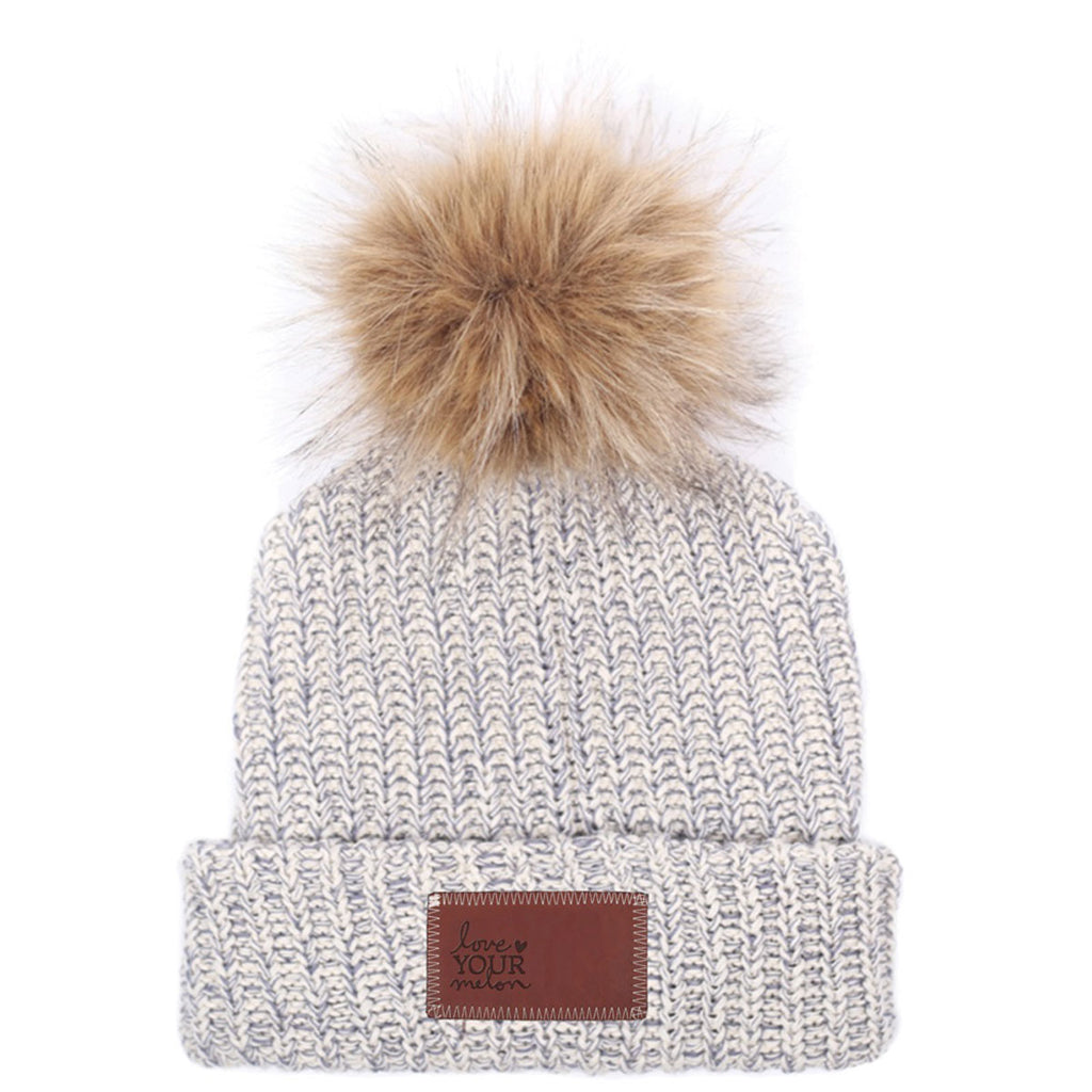 Love Your Melon Grey Speckled Beanie with Natural Pom e505d366e57