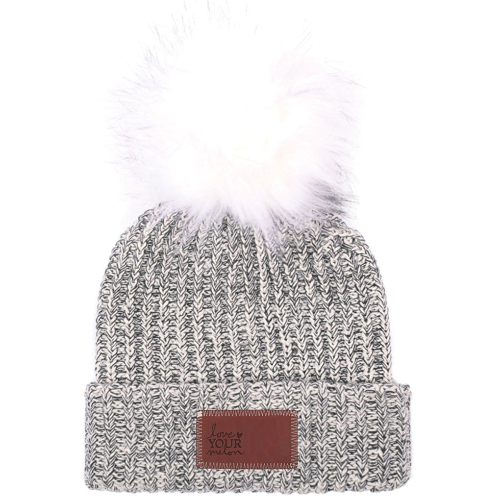 Love Your Melon Black Speckled Beanie with White Pom 34a2b071eab