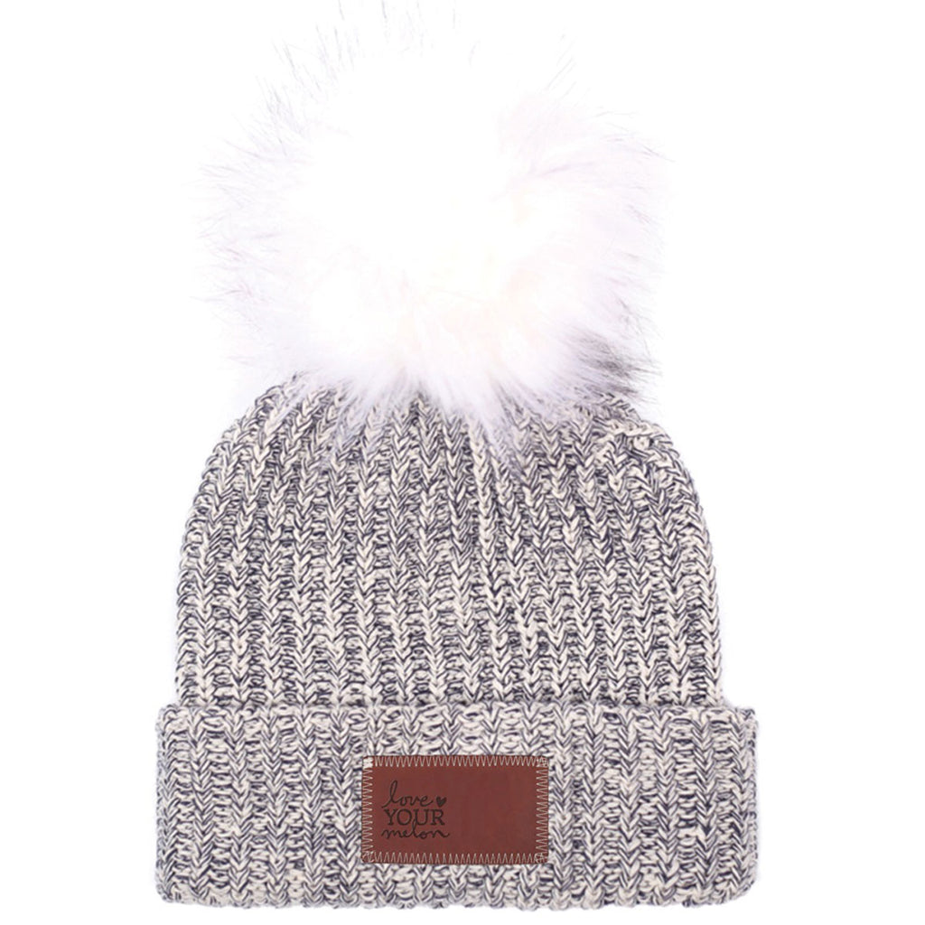 55f6c70063961 Love Your Melon Navy Speckled Beanie with White Pom