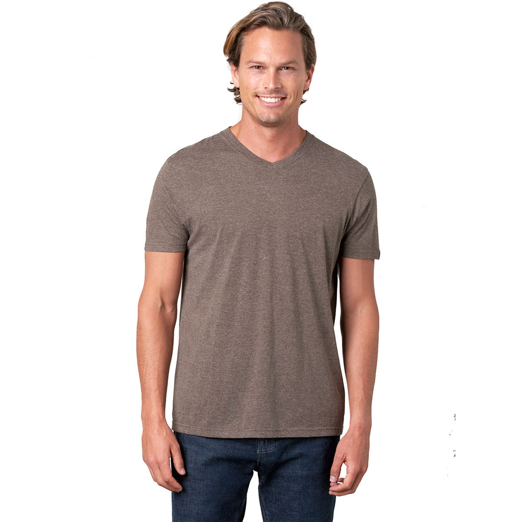 prAna Men's Brown Heather V-Neck T-Shirt