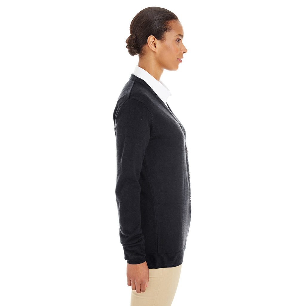 Harriton Women's Black Pilbloc V-Neck Button Cardigan Sweater