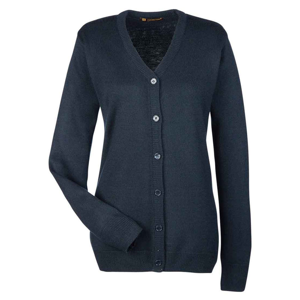 40f3f372952 Harriton Women's Dark Navy Pilbloc V-Neck Button Cardigan Sweater