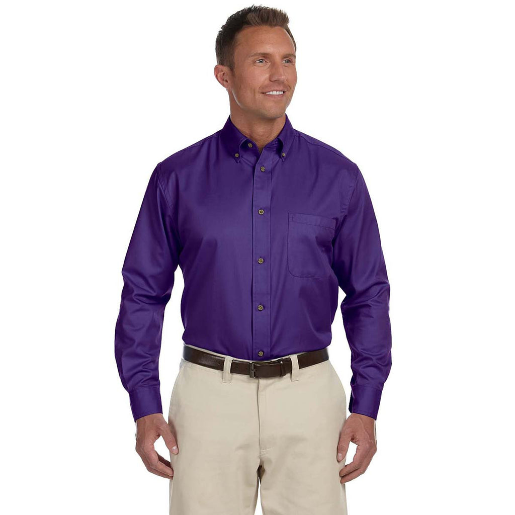 Harriton Mens Easy Blend Long-Sleeve Twill Shirt with Stain-Release TEAM PURPLE S