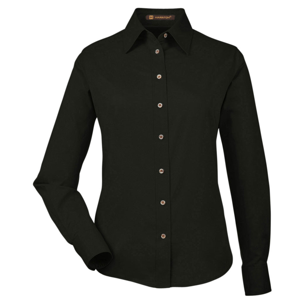 b49ee6750e35f Harriton Women s Black Easy Blend Long-Sleeve Twill Shirt with Stain-Release.  ADD YOUR LOGO