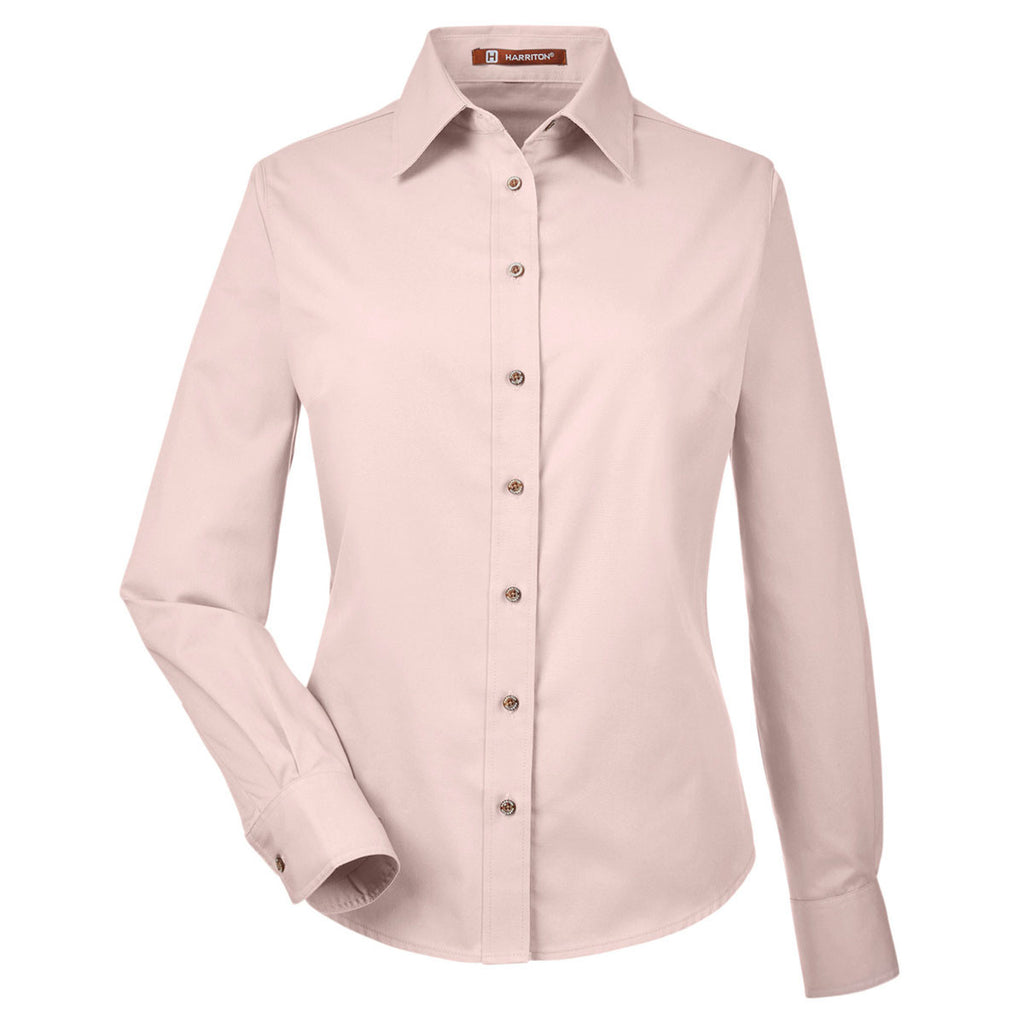 e135b6fe53771 Harriton Women s Blush Easy Blend Long-Sleeve Twill Shirt with Stain-Release.  ADD YOUR LOGO