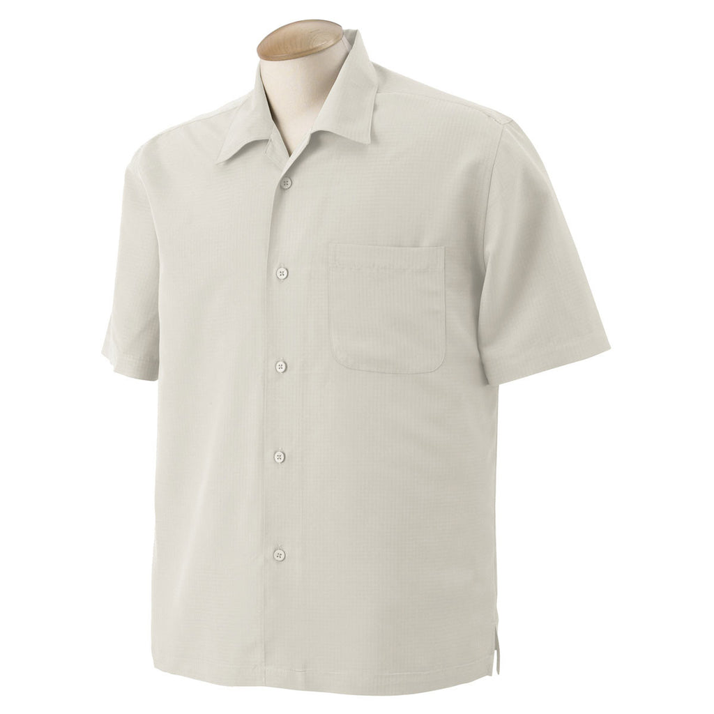 Harriton Mens Barbados Textured Camp Shirt