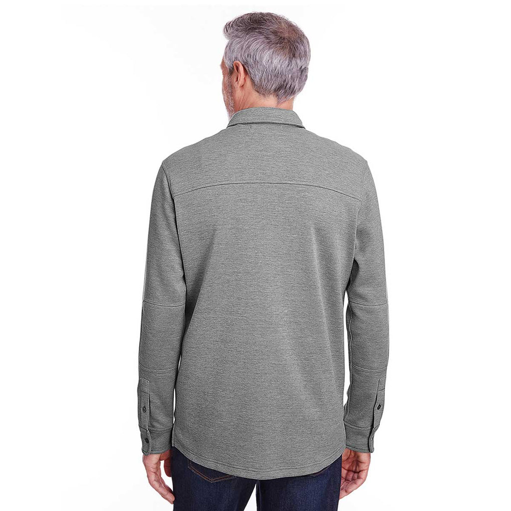 Harriton Men's Dark Charcoal Heather SatinBloc Pique Fleece Shirt Jacket