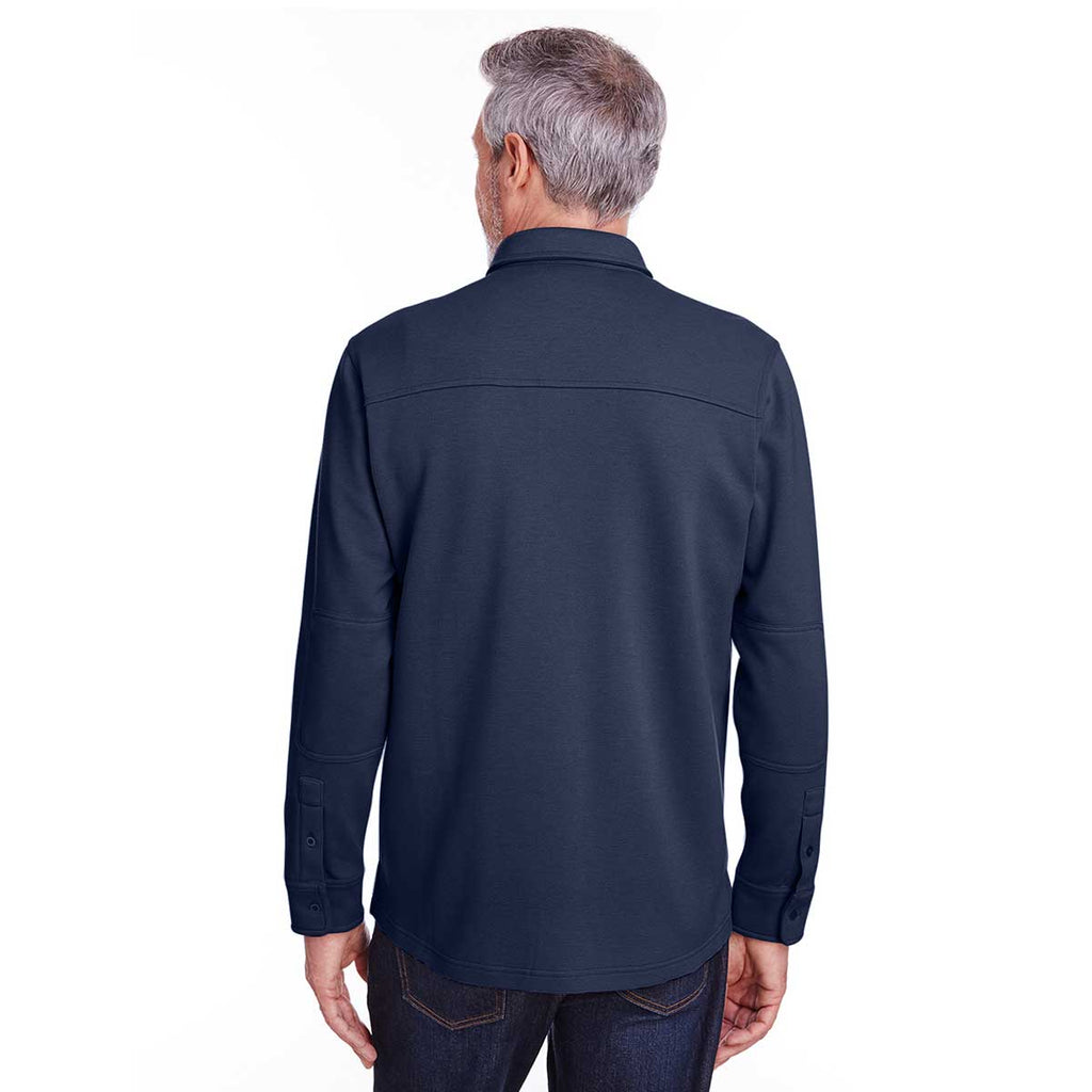 Harriton Men's Dark Navy SatinBloc Pique Fleece Shirt Jacket