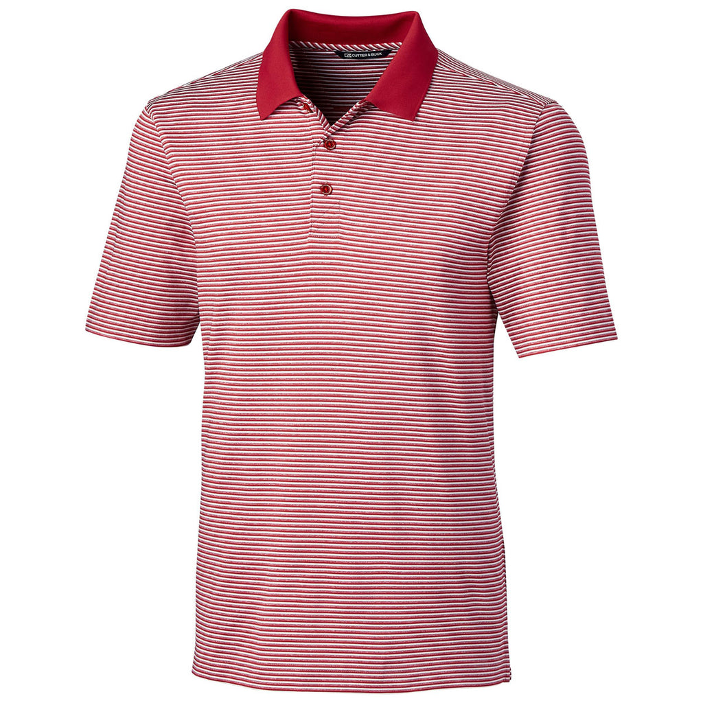 Cutter Buck Mens Cardinal Red Forge Polo Tonal Stripe