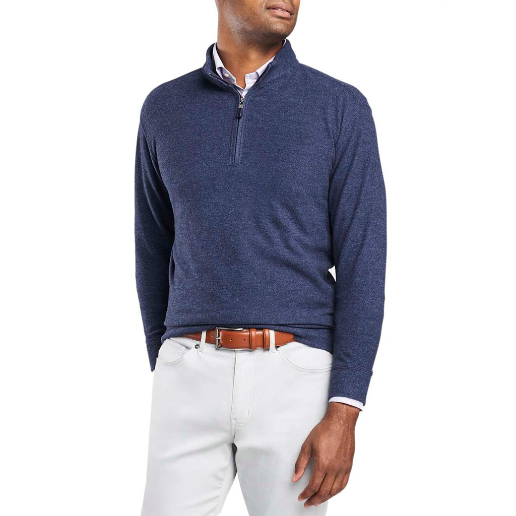 Peter Millar Men's Navy Tri-Blend Melange Fleece Quarter-Zip