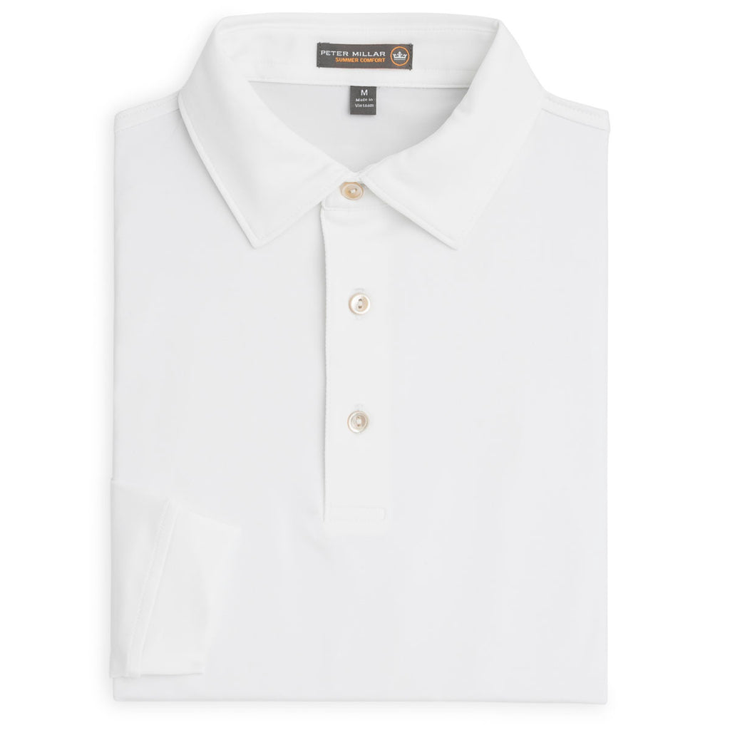 8222aca1c5be Peter Millar Men s White Solid Long Sleeve Stretch Jersey Polo. ADD YOUR  LOGO