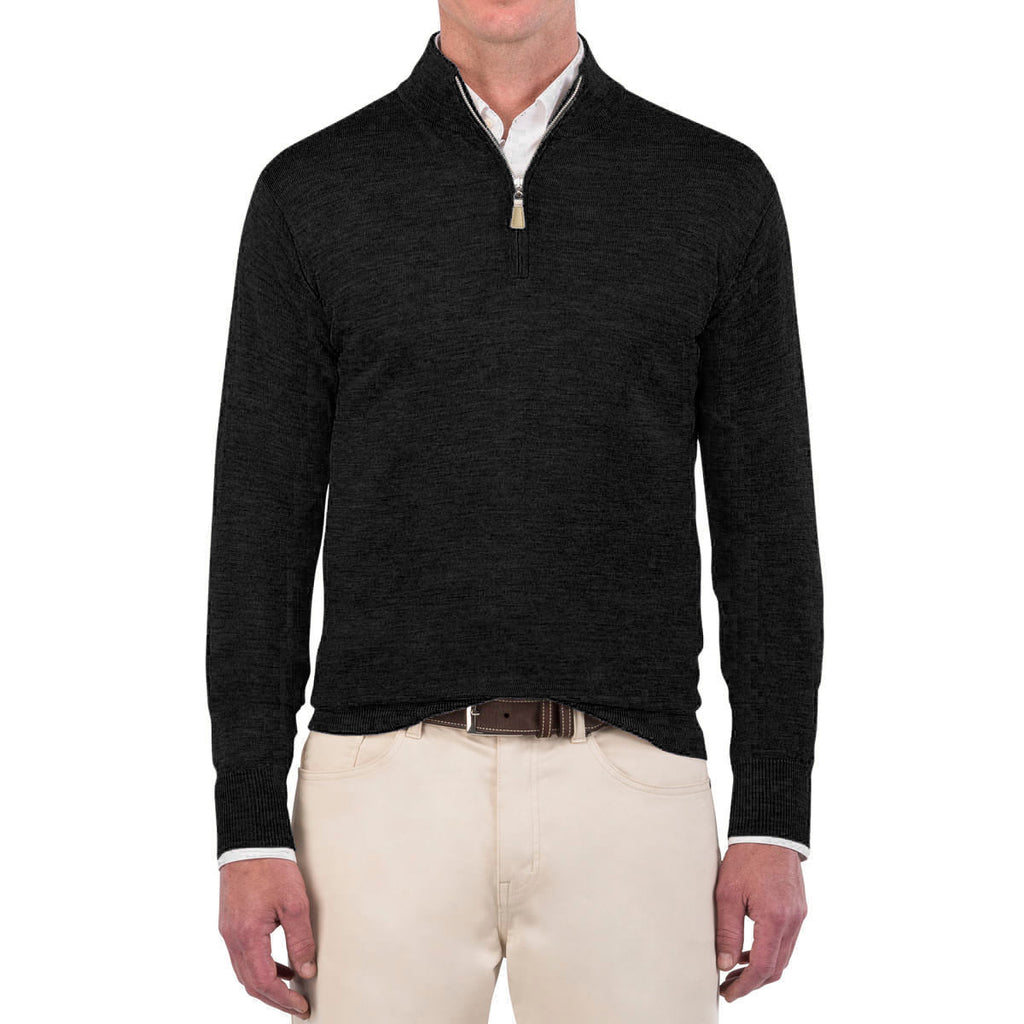 Peter Millar Men's Black Crown Soft Merino Quarter Zip
