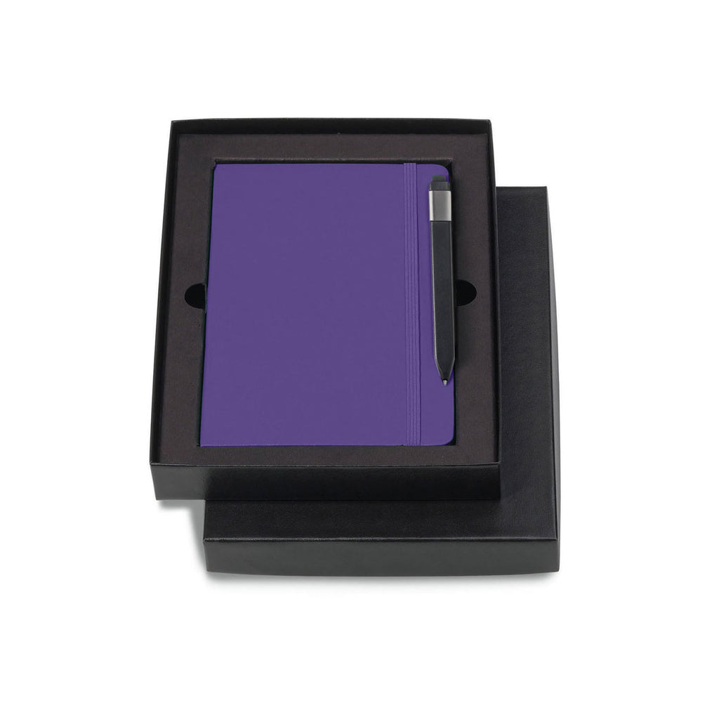 "Moleskine Gift Set with Brilliant Violet Large Hard Cover Ruled Notebook and Black Pen (5"" x 8.25"")"