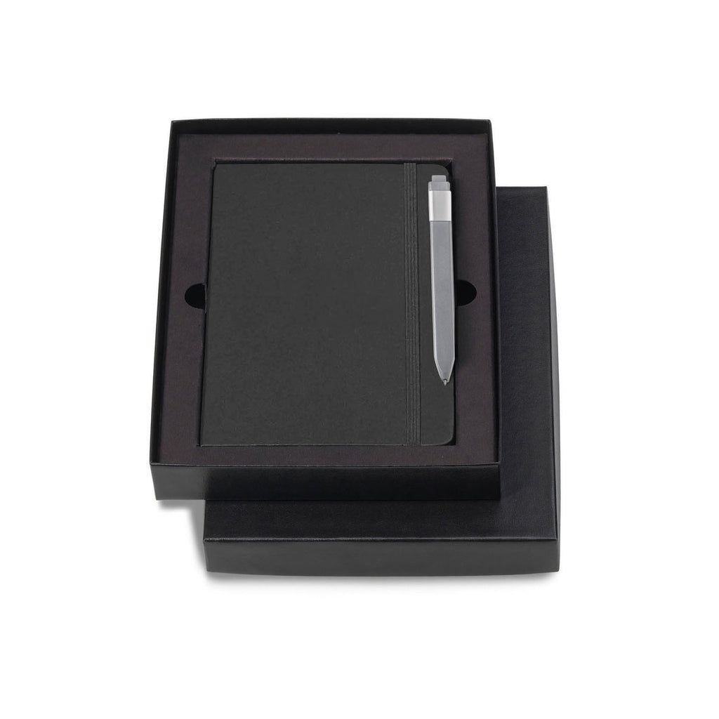 "Moleskine Gift Set with Black Hard Cover Squared Large Notebook and Grey Pen (5"" x 8.25"")"