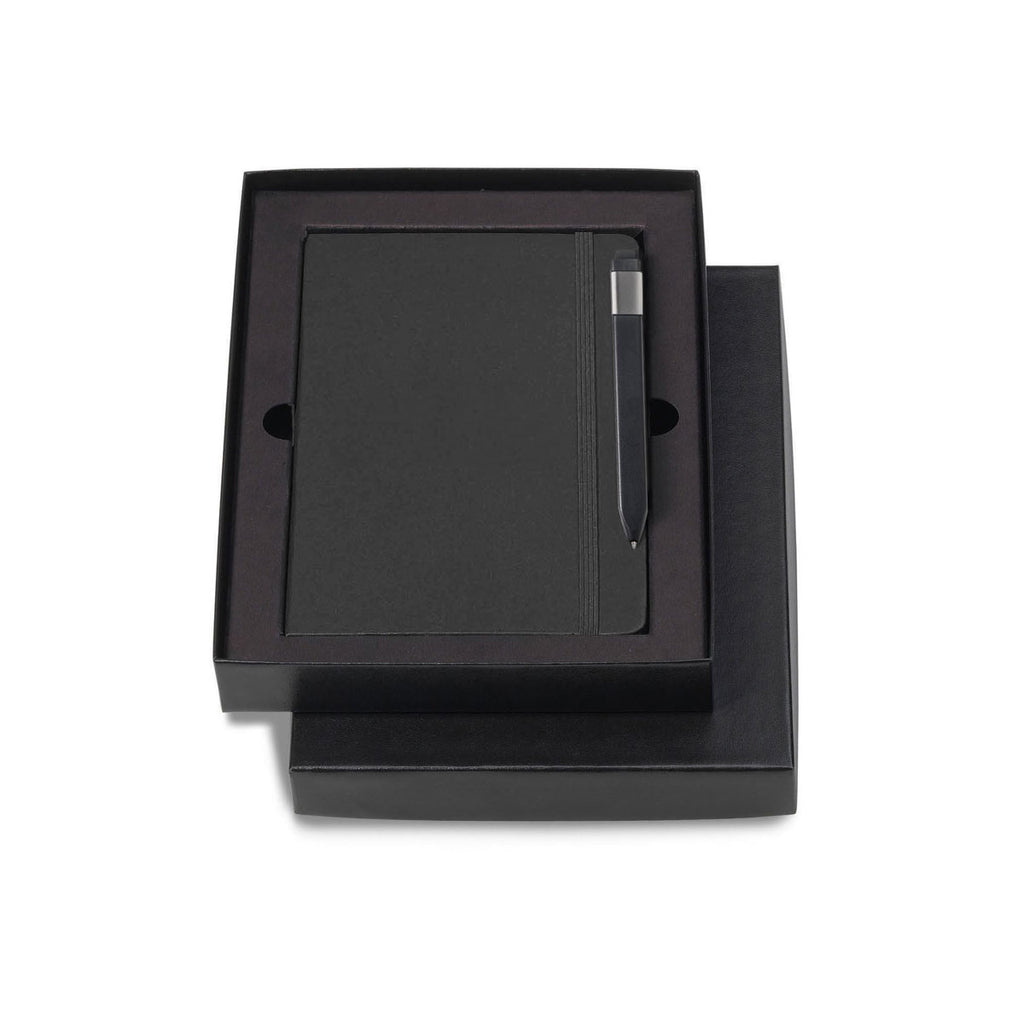 "Moleskine Gift Set with Black Hard Cover Squared Large Notebook and Black Pen (5"" x 8.25"")"