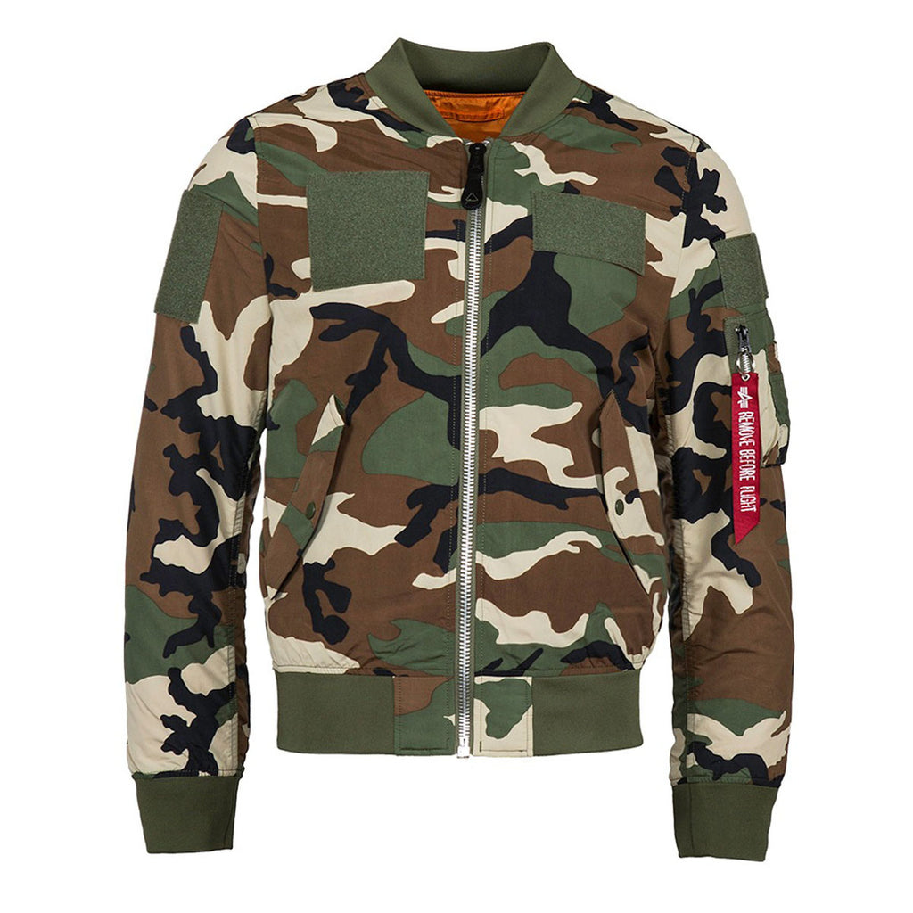 ec9a59a12b469c Alpha Industries Men's Light Woodland Camo L-2B Flex Flight Jacket. ADD  YOUR LOGO